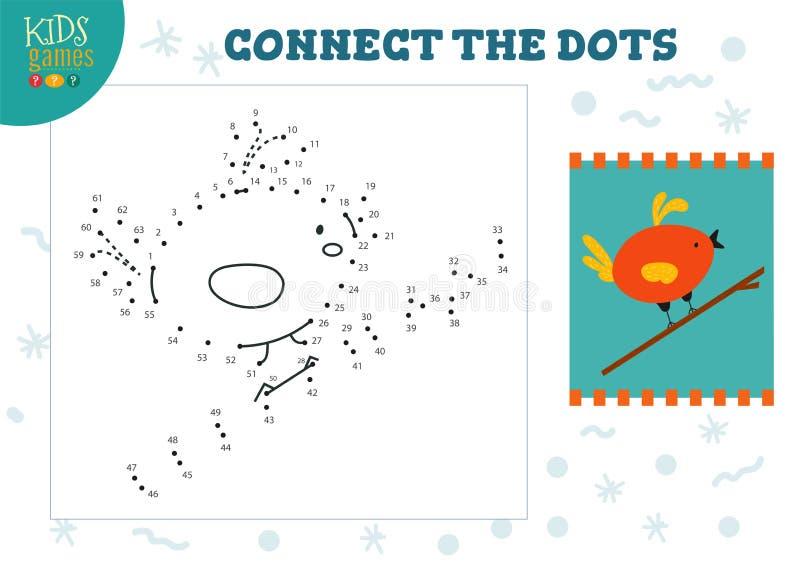 Соедините иллюстрацию вектора игры детей точек Дети дошкольного возраста рисуя деятельность бесплатная иллюстрация