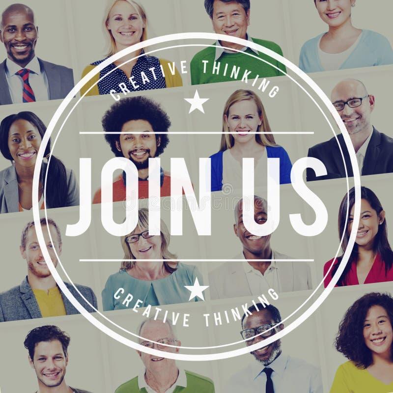 Соедините нас концепция рабочего места компании применения стоковое изображение