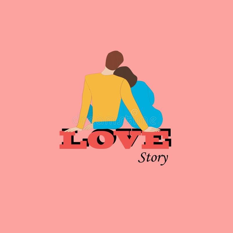 Соедините обнимать назад сидеть на письмах слова любов r иллюстрация вектора