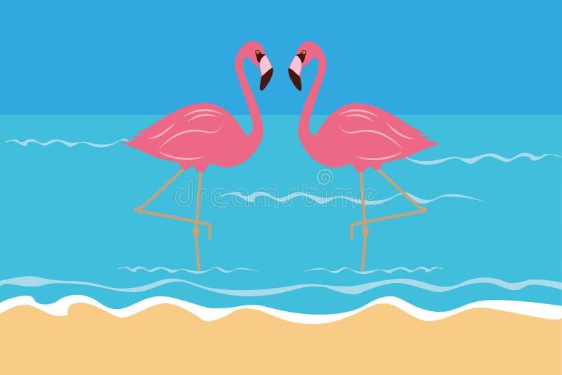 Соедините розовые тропические фламинго на пляже в воде иллюстрация вектора