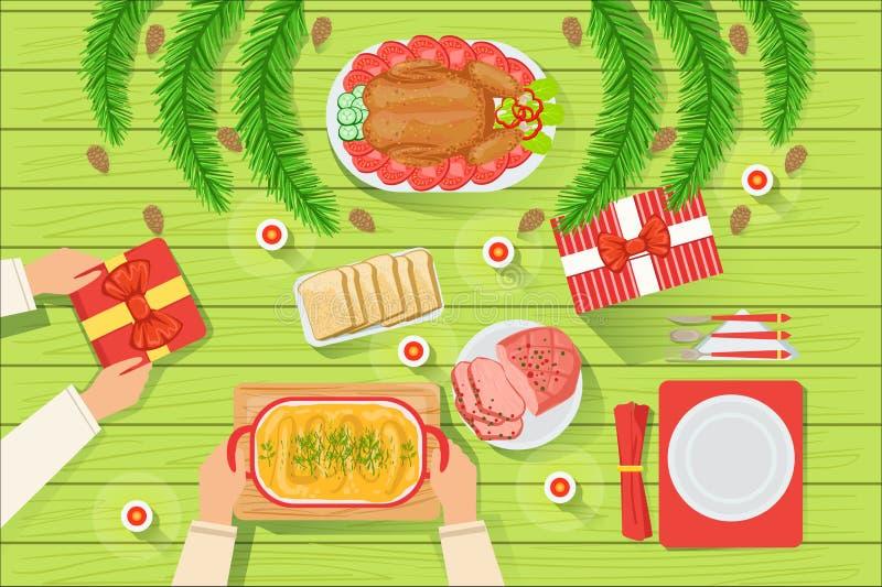 Соедините с традиционно, который служат взглядом таблицы рождества сверху бесплатная иллюстрация