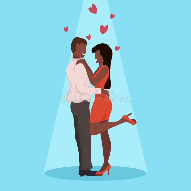 Соедините танцевать совместно счастливый день Святого Валентина празднуя женщину человека концепции имея любовников потехи Афро-а бесплатная иллюстрация