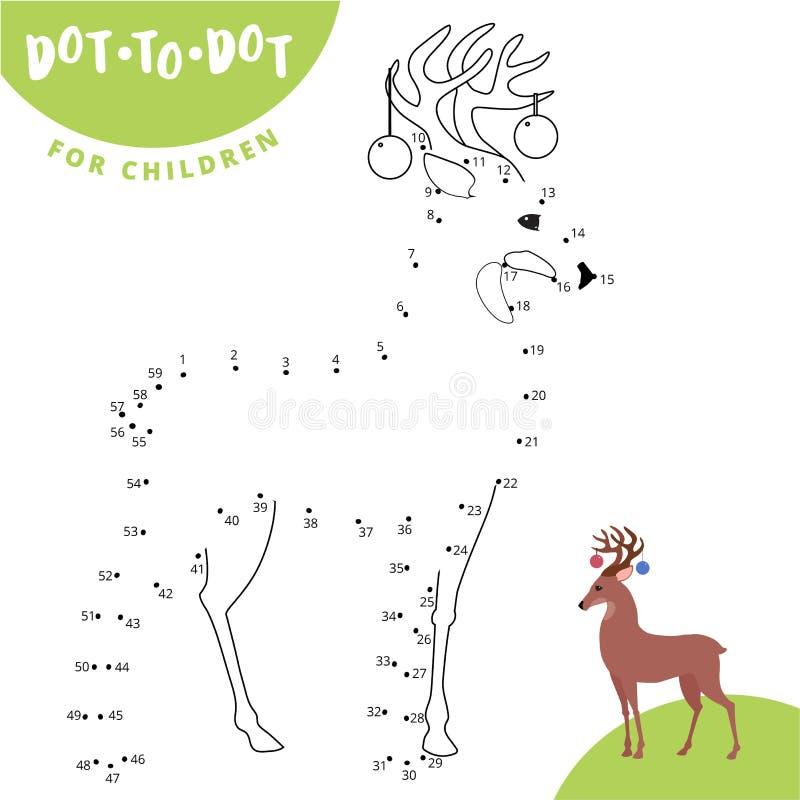 Соедините точки для того чтобы нарисовать животную воспитательную игру для оленей косуль детей иллюстрация штока
