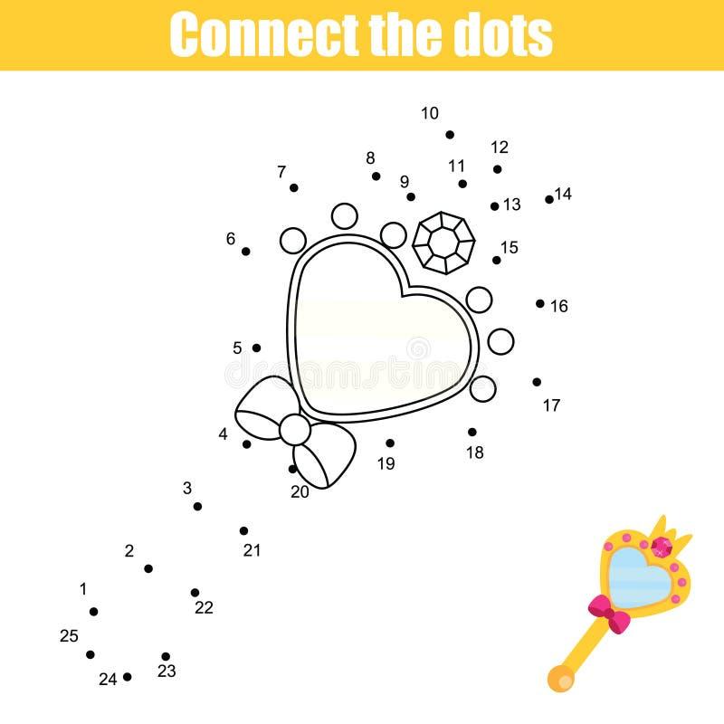 Соедините точки игрой детей номеров воспитательной Printable деятельность при рабочего листа Принцесса Зеркало бесплатная иллюстрация