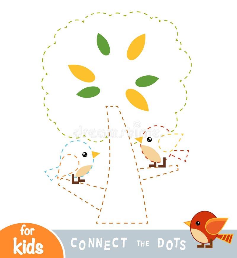 Соедините точки, игру для детей Птицы в дереве бесплатная иллюстрация