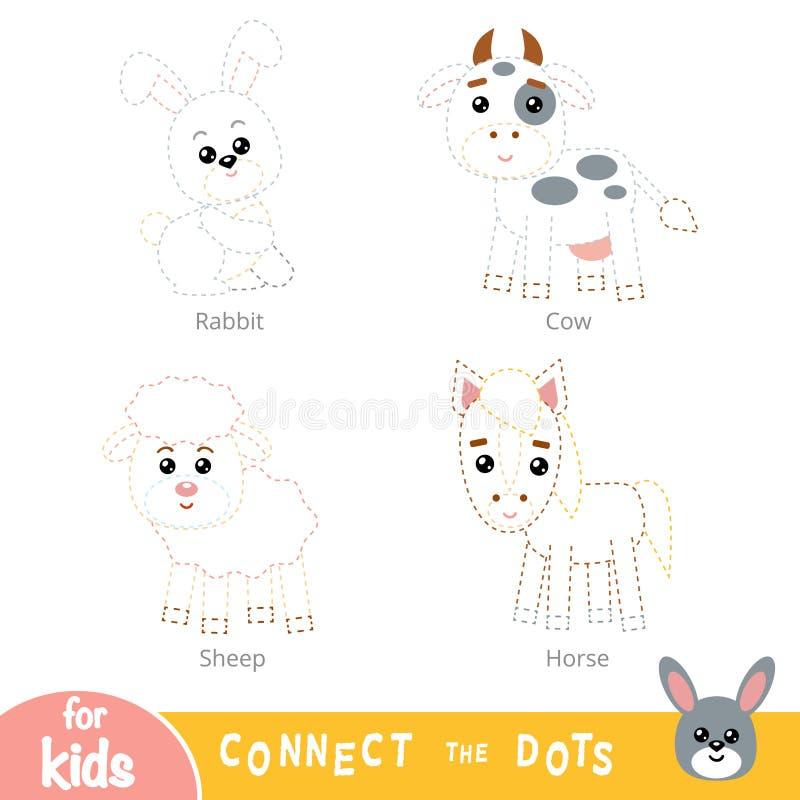 Соедините точки, игру образования для детей Набор животноводческих ферм иллюстрация вектора