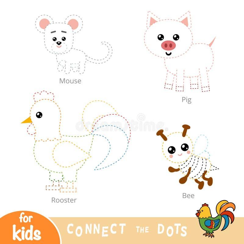 Соедините точки, игру образования для детей Набор животноводческих ферм бесплатная иллюстрация