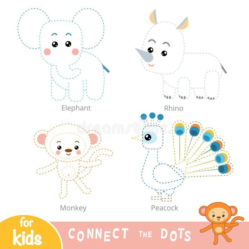 Соедините точки, игру образования для детей Набор животных сафари иллюстрация штока