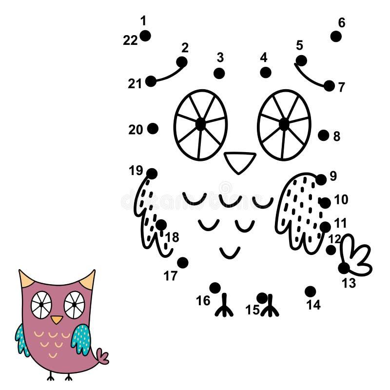 Соедините точки и нарисуйте милого сыча Манипуляция цифрами для детей бесплатная иллюстрация