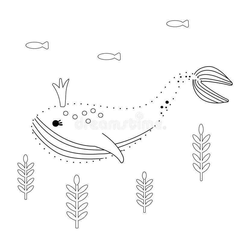 Соедините точки Кит в плакате мультфильма корня подводном Морская страница книжка-раскраски для детей Черно-белая линия искусство иллюстрация штока