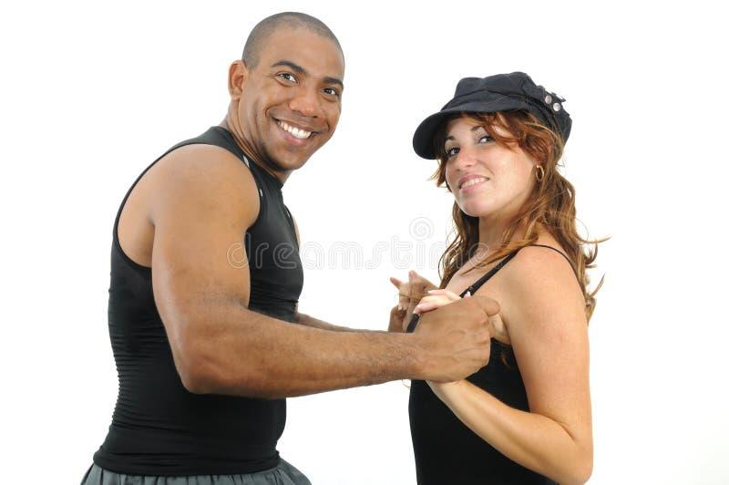 соедините multiracial изолированное танцы стоковая фотография rf