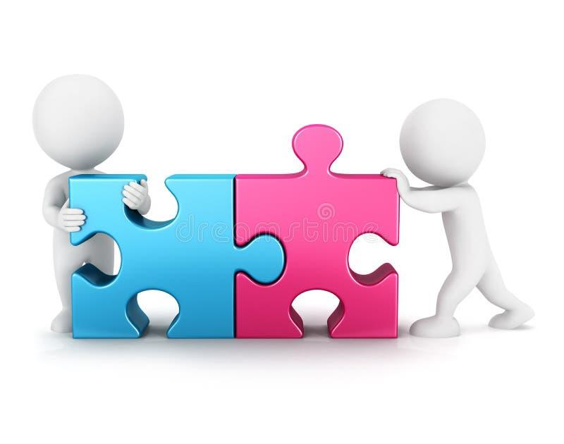 соединение головоломки белых человеков 3d иллюстрация штока