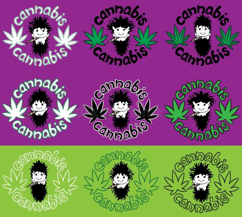 Соединение марихуаны счастливого расслабленного rastafarian парня куря с иллюстрацией украшения лист конопли иллюстрация штока
