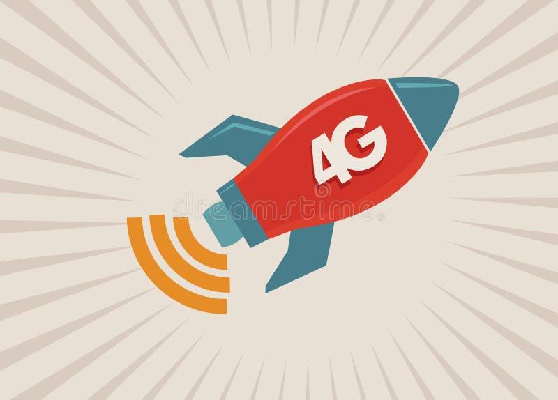 соединение сети 4G Wifi иллюстрация вектора