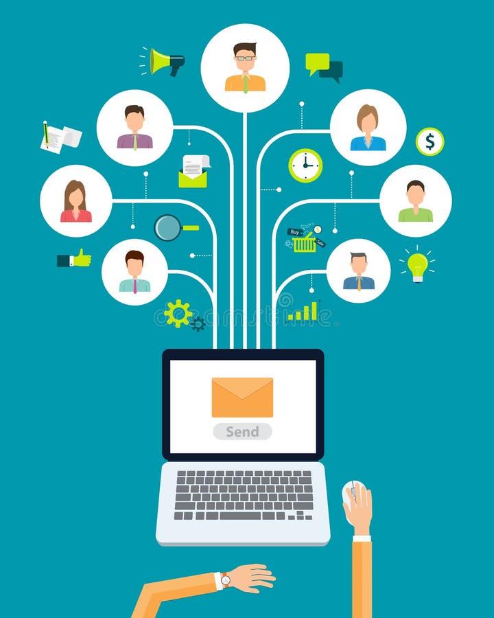 Соединение содержания маркетинга электронной почты дела на предпосылке людей иллюстрация вектора
