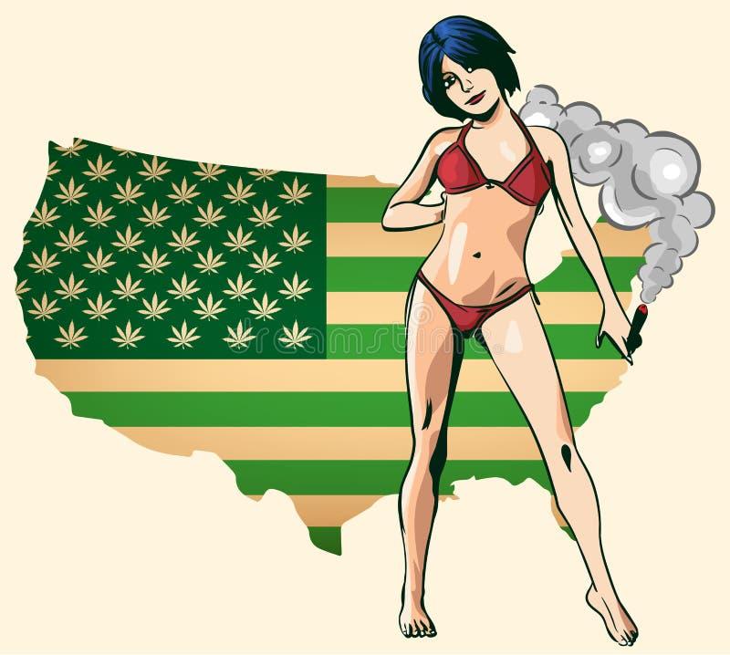 Соединение дыма бикини женщины красоты Зеленый цвет карты США с листьями марихуаны голубой вектор неба радуги изображения облака бесплатная иллюстрация