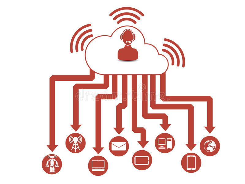 Соединение людей предпосылки облака вычисляя infographic иллюстрация вектора
