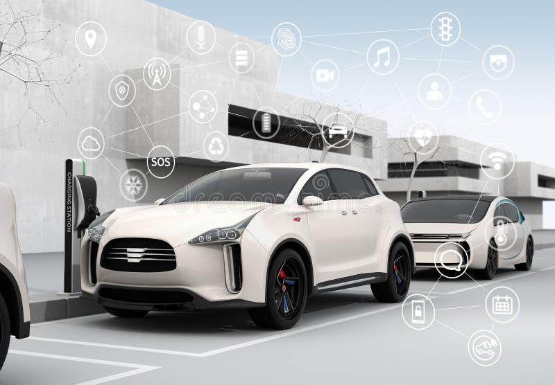 Соединенные автомобили и автономная концепция автомобилей иллюстрация штока