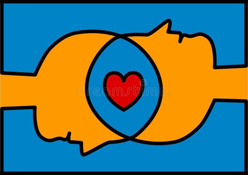 Соединенные головы деля сердце влюбленности иллюстрация штока