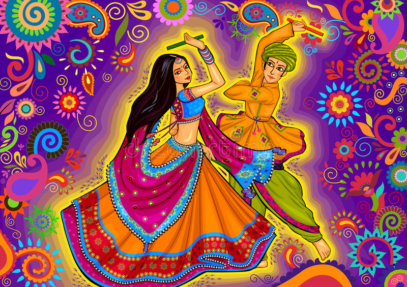 Соедините играть Garba в фестивале Navratri Dussehra ночи Dandiya бесплатная иллюстрация