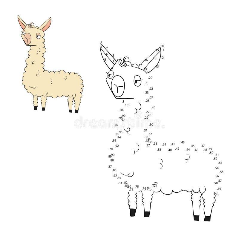 Соедините иллюстрацию вектора лама игры точек бесплатная иллюстрация