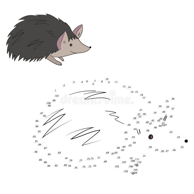 Соедините иллюстрацию вектора ежа игры точек иллюстрация штока