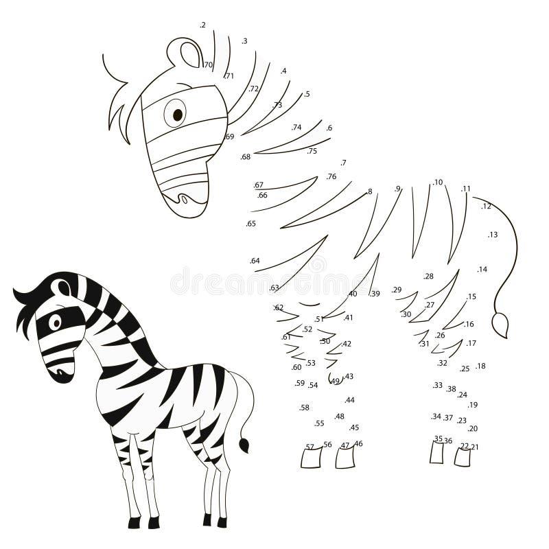Соедините иллюстрацию вектора зебры игры точек иллюстрация вектора