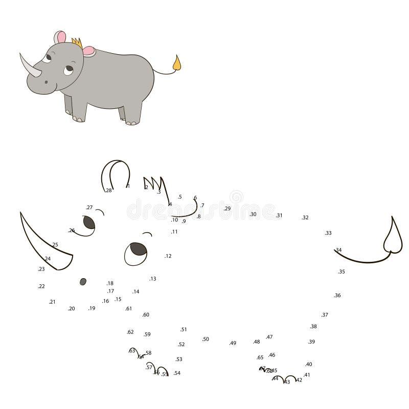 Соедините иллюстрацию вектора носорога игры точек иллюстрация штока