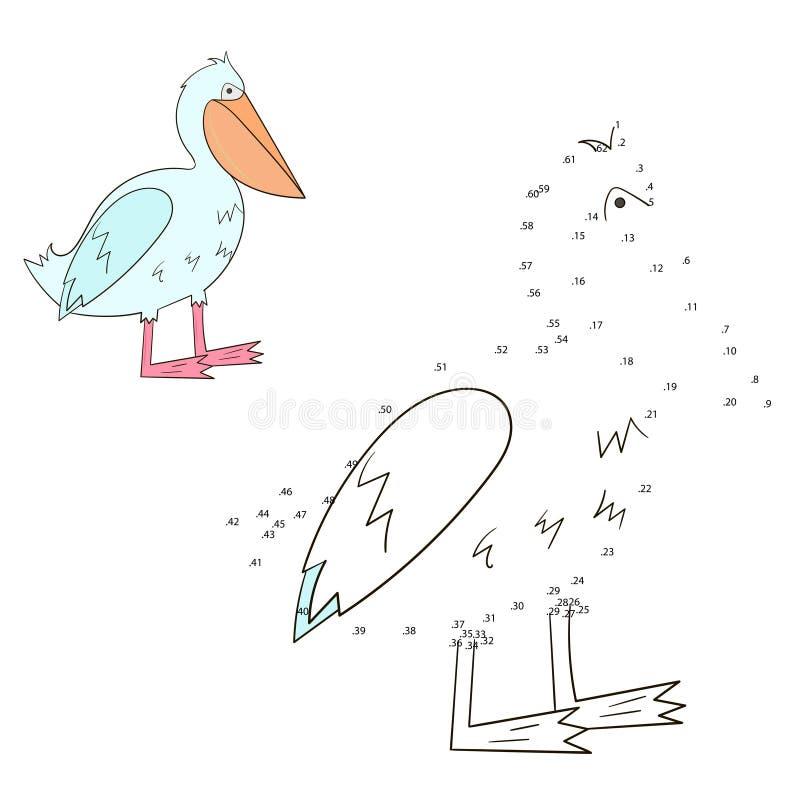 Соедините иллюстрацию вектора пеликана игры точек иллюстрация штока