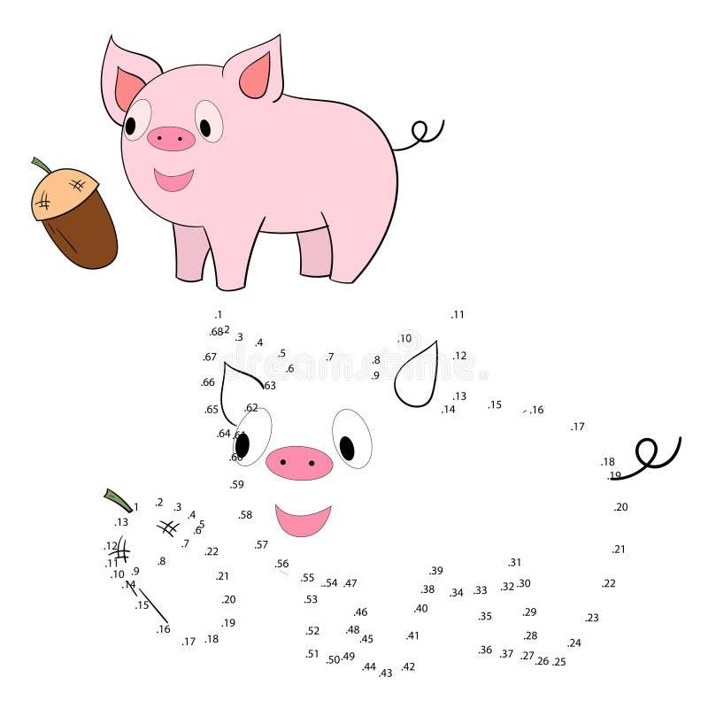 Соедините иллюстрацию вектора свиньи игры точек бесплатная иллюстрация