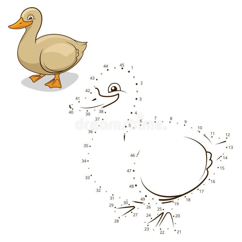 Соедините иллюстрацию вектора утки игры точек иллюстрация вектора