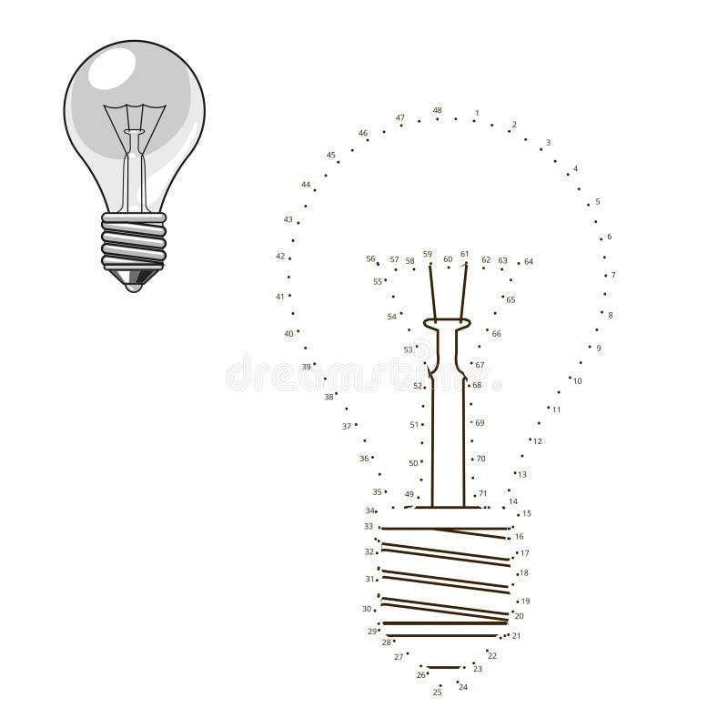 Соедините точки к игре лампочки притяжки воспитательной иллюстрация штока