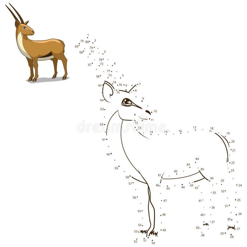 Соедините точки к игре притяжки животной воспитательной иллюстрация вектора