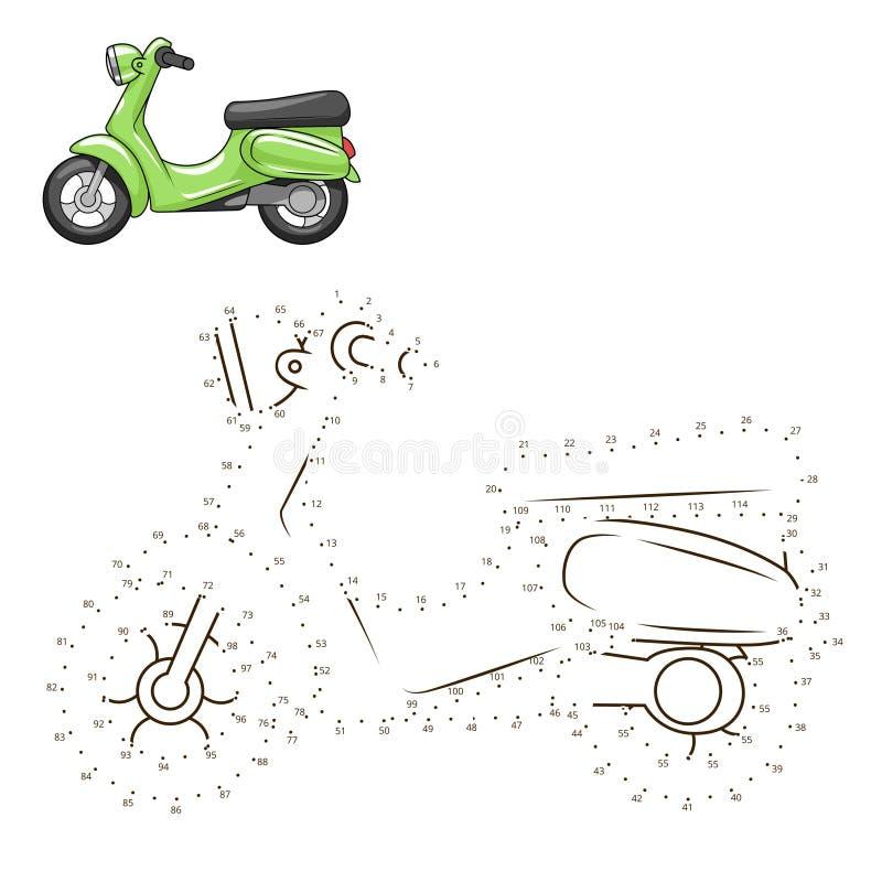 Соедините точки к игре самоката притяжки воспитательной иллюстрация вектора