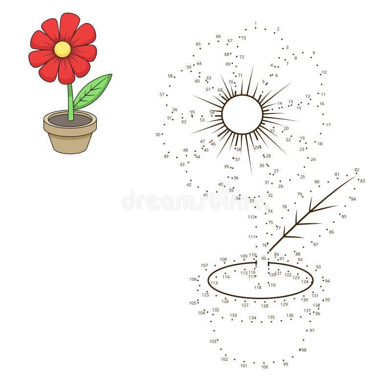 Соедините точки к игре цветка притяжки воспитательной иллюстрация штока