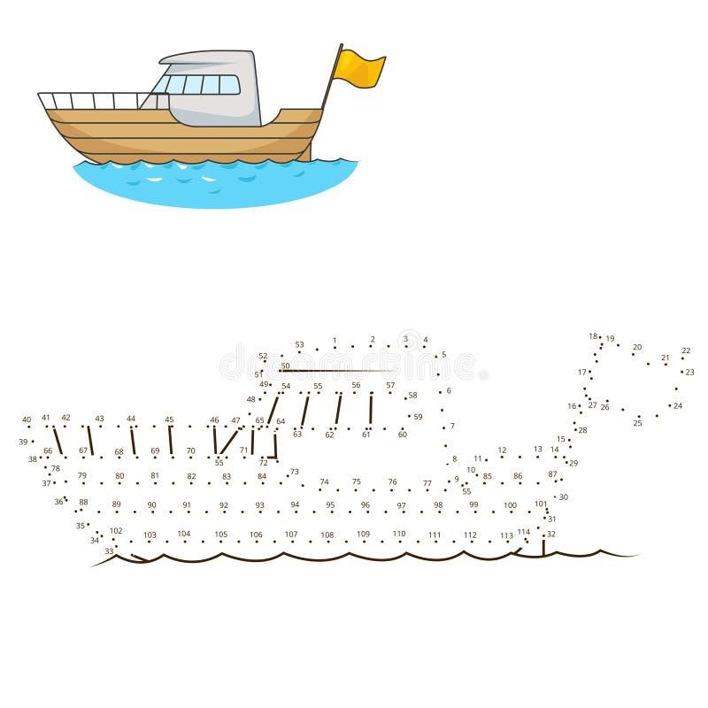 Соедините точки к игре яхты притяжки воспитательной иллюстрация штока