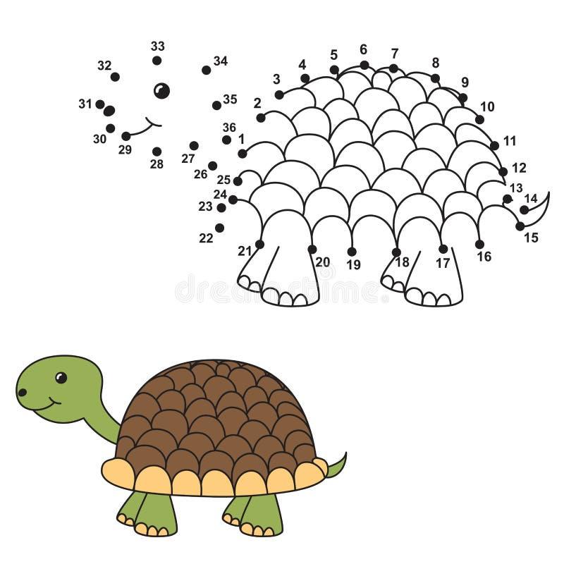 Соедините точки для того чтобы нарисовать милую черепаху и покрасить ее иллюстрация вектора