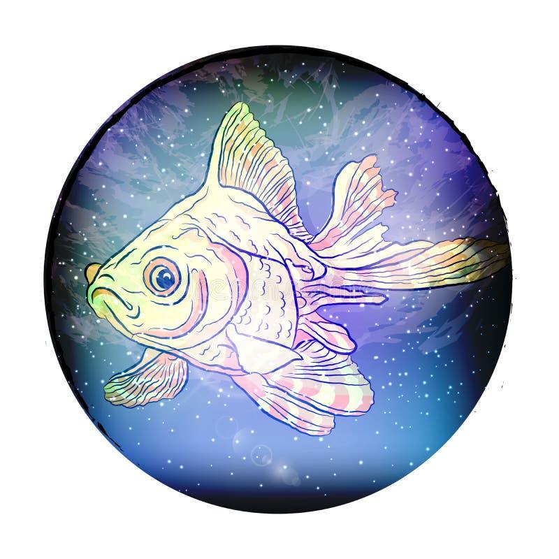 созвездие рыб космическое рыб вектор иллюстрация вектора
