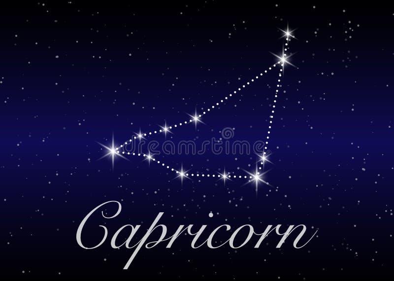 Созвездия зодиака козерога подписывают на красивом звёздном небе с галактикой и космосом позади Созвездие символа гороскопа козы иллюстрация вектора