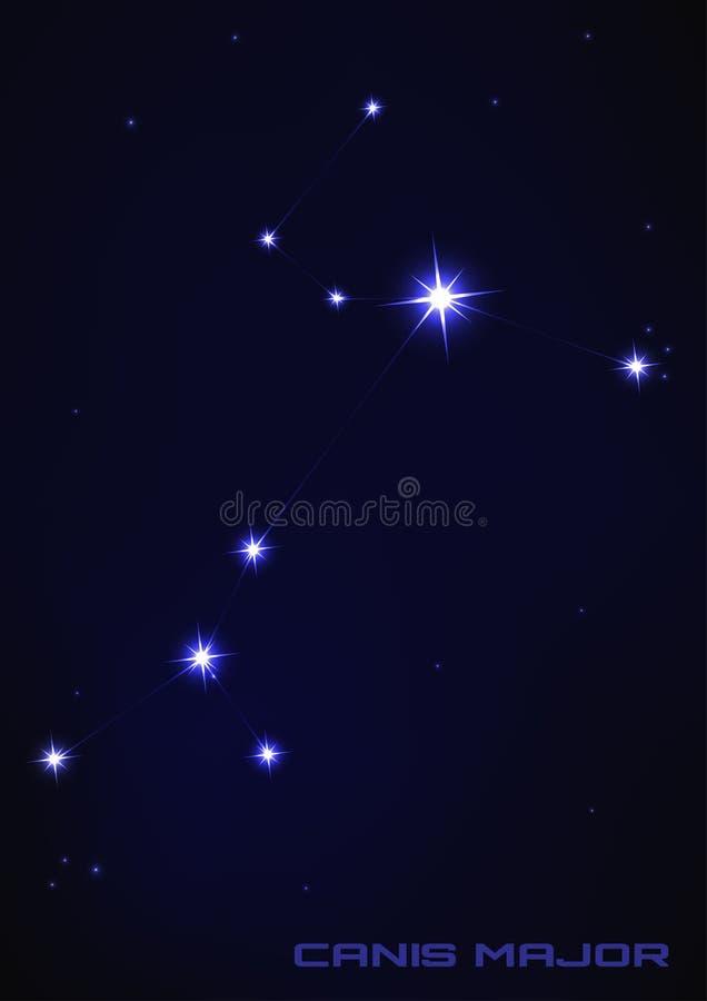 Созвездие звезды майора волка иллюстрация штока
