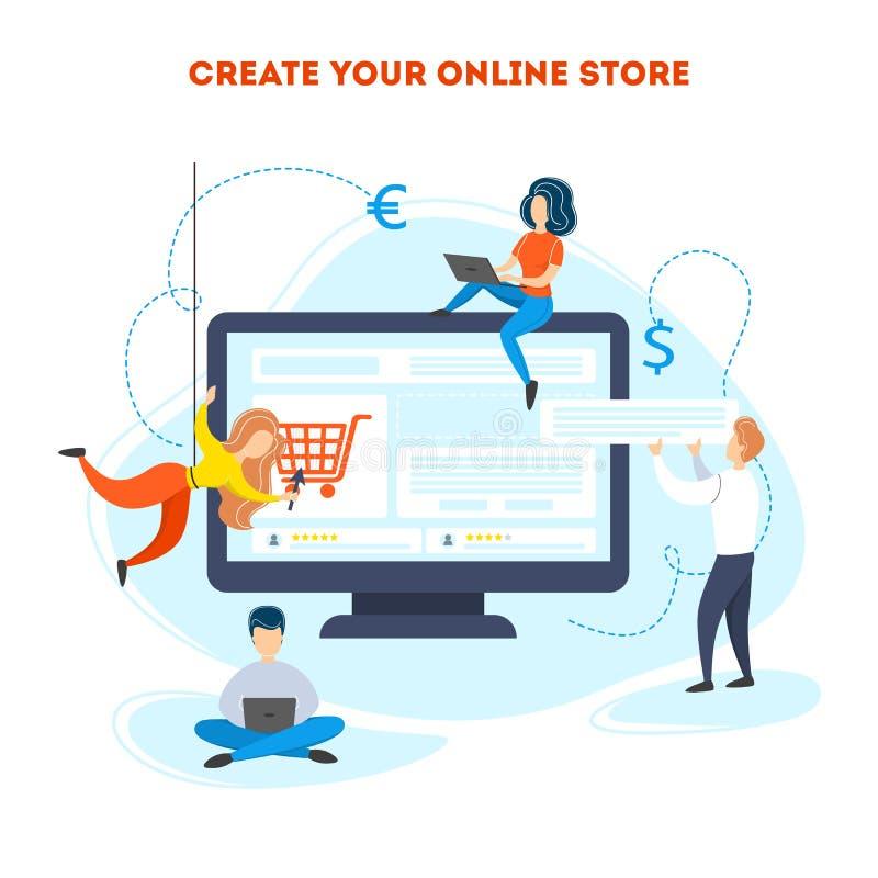 Создайте онлайн концепцию магазина Мобильное развитие приложения иллюстрация вектора