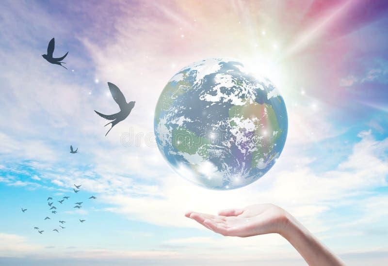 Создание Земли, свобода, чистая окружающая среда, экология, связь, здоровье, благополучие иллюстрация вектора