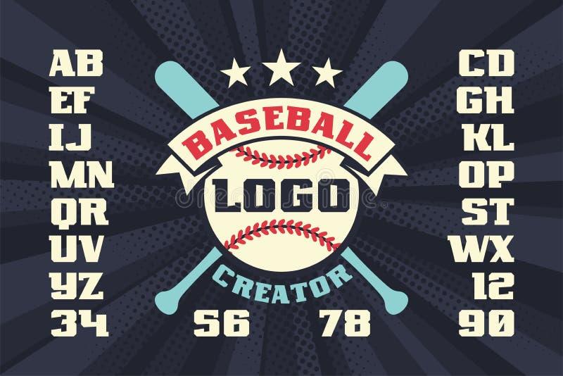 Создатель логотипа бейсбола с звездами, пересеченными летучими мышами бесплатная иллюстрация