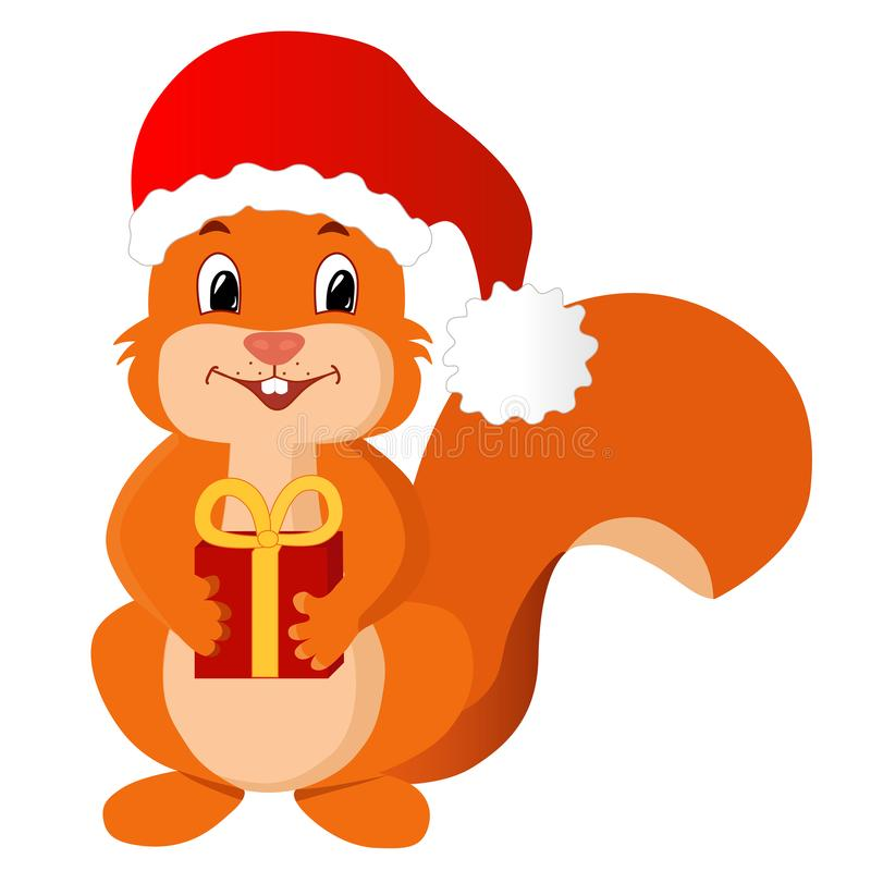 Squirrel with a new year gift. Funny vector illustration. stock images