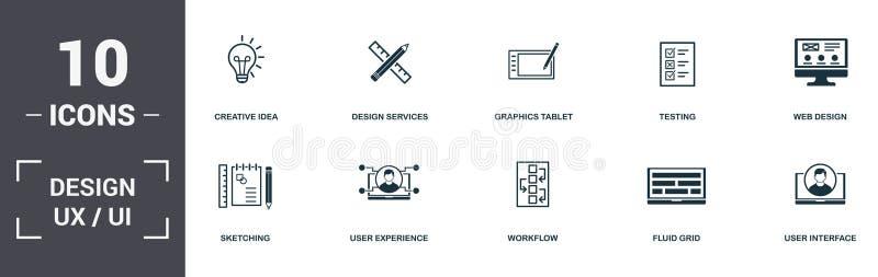 Создать коллекцию значков набора Ui и Ux Включает такие простые элементы, как Design Services, Graphics Tablet, Testing, Web Desi иллюстрация штока