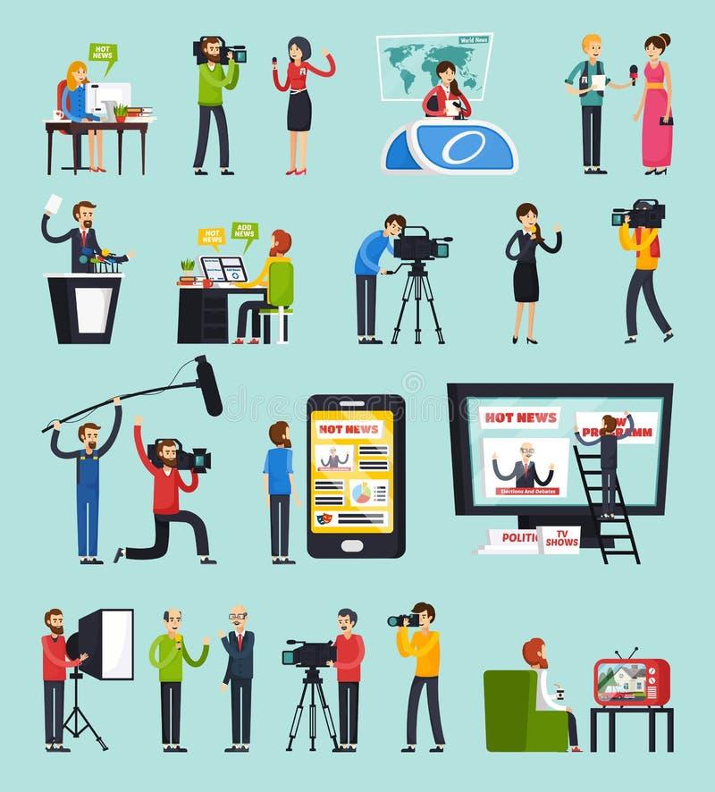 Создающ установленные значки новостей ортогональные бесплатная иллюстрация