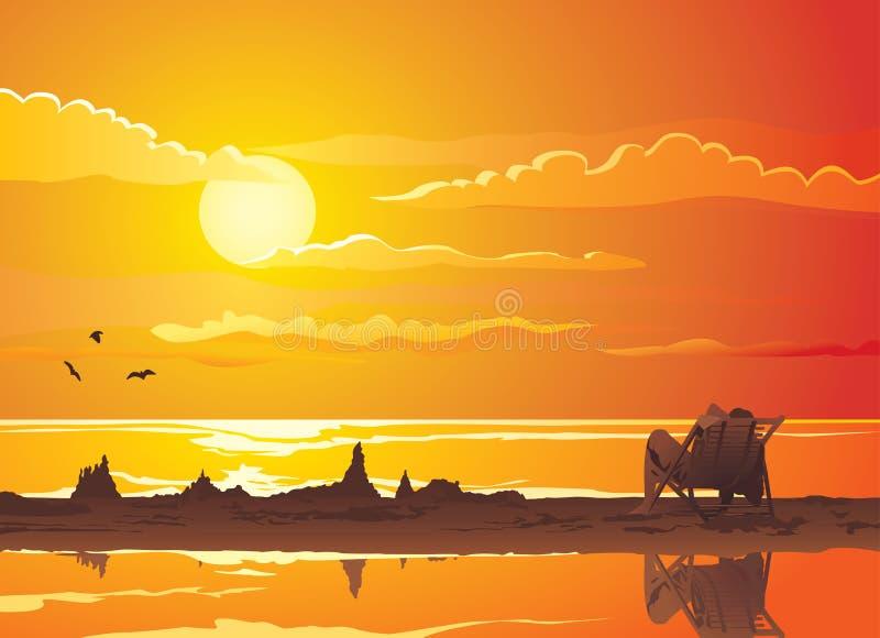 созерцайте заход солнца иллюстрация вектора