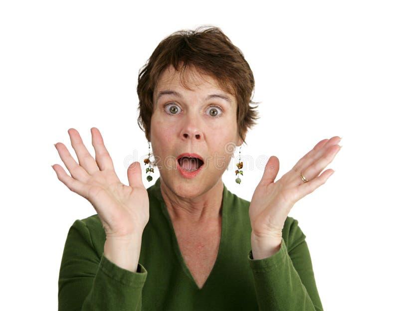 созрейте удивленная женщина стоковая фотография rf