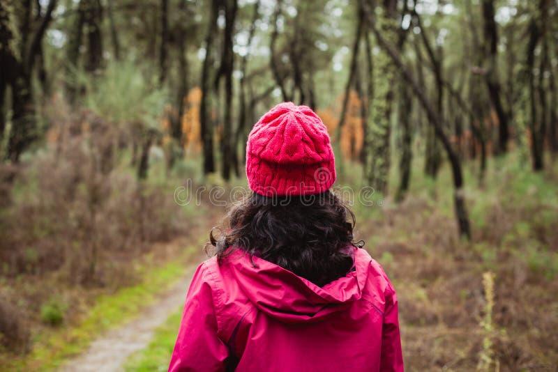 Созретая женщина в лесе стоковое изображение rf