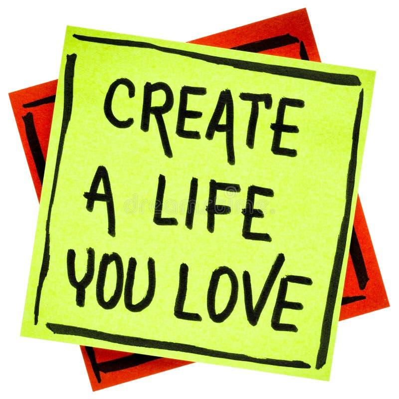 Создайте жизнь вы любите совет или напоминание стоковое изображение